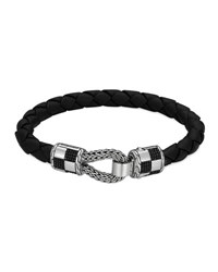 John Hardy Men's Classic Chain Silver Station Bracelet On Black Leather Cord