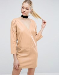 Asos Leather Look Shift Dress Nude Beige