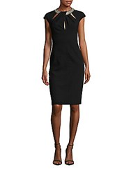 David Meister Solid Cocktail Dress Black
