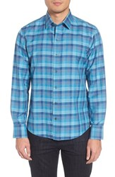 Zachary Prell Maverick Plaid Linen Blend Sport Shirt Teal
