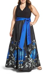 Eliza J Plus Size Women's Jersey And Floral Jacquard Ballgown