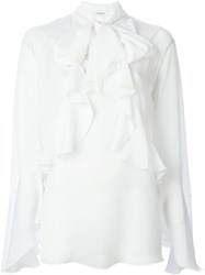 Givenchy Ruffled Placket Blouse White