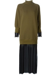 Mm6 Maison Margiela Sheer Layer Sweatshirt Dress Green