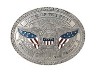 Mandf Western Land Of The Free Buckle Silver Belts