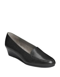 Aerosoles Leather Wedge Loafers Black