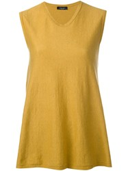 Roberto Collina Round Neck Flared Tank Women Cotton S Yellow Orange