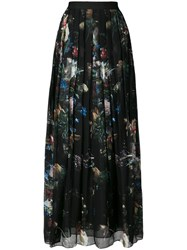 Adam By Adam Lippes Floral Print Pleated Skirt Polyester Black