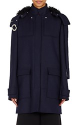 Proenza Schouler Women's Grommet Detailed Duffle Coat Navy Black