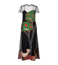 Red Valentino Mesh Landscape Long Dress Female Multi