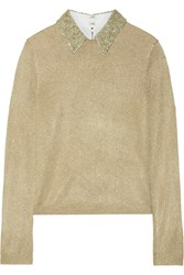 Alice Olivia Dia Embellished Metallic Knitted Sweater Gold