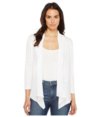 Lilla P 3 4 Sleeve Open Cardigan White Women's Sweater