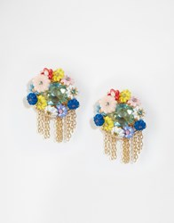 Les Nereides Statement Fringe Floral Jewel Earrings Multi