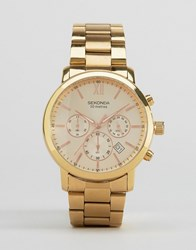 Sekonda Chronograph Bracelet Watch In Gold Exclusive To Asos Gold