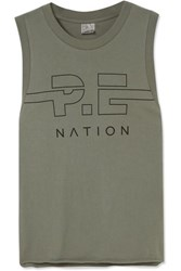 P.E Nation Spike Printed Cotton Jersey Tank Army Green