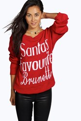 Boohoo Santa's Favourite Brunette Slash Neck Christmas Jumper Red
