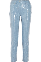 Moschino Sequined Denim Straight Leg Jeans