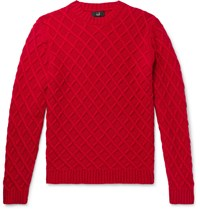 Dunhill Slim Fit Cable Knit Cashmere Sweater Red