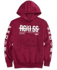 Young And Reckless Men's Strike Thru Pullover Hoodie Burgundy