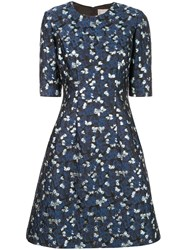 Lela Rose Metallic Print Dress Blue