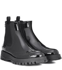 Prada Patent Leather Ankle Boots Black