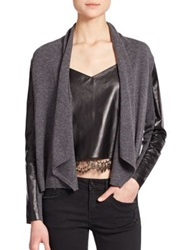 The Kooples Wool Cashmere And Leather Cardigan Grey Black
