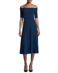 Jason Wu Off The Shoulder Ribbed Half Sleeve Dress Cobalt White