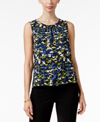 Nine West Pleat Neck Shell Blue Multi