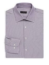 Ike By Ike Behar Striped Regular Fit Dress Shirt Purple