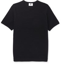 Nn.07 Collin Ribbed Cotton Blend Jersey T Shirt Blue