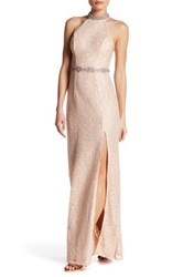 Sequin Hearts Back Cutout Lace Gown Pink
