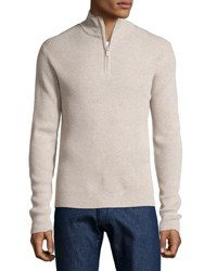 Neiman Marcus Ribbed Quarter Zip Sweater Chameau