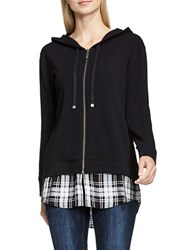 Vince Camuto Mock Layered Long Sleeve Hoodie Black