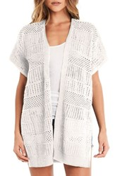 Michael Stars Women's Short Sleeve Open Front Cardigan White