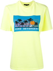 Alexander Wang 'Mind Detergent' Short Sleeve T Shirt Women Cotton Polyester M Yellow Orange