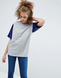 Asos T Shirt With Colourblock Satin Sleeves In Oversized Fit Multi