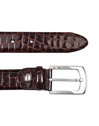 Manieri Men's Brown Croco Stamped Patent Leather Belt