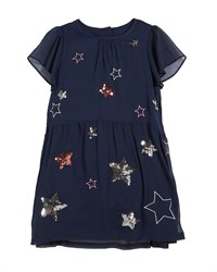 Joules Emma Sequin And Embroidered Star Dress Blue