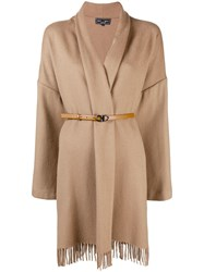 Salvatore Ferragamo Belted Cape Coat Brown