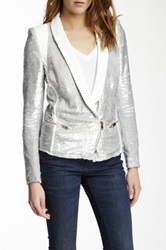 Iro Hadley Sequin And Leather Trim Jacket White