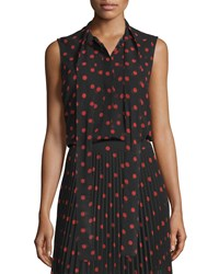 Mcq By Alexander Mcqueen Sleeveless Woven Polka Dot Blouse Red Black