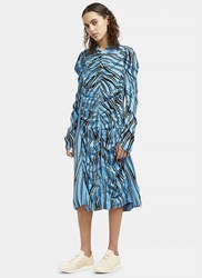 Marni Mid Length Ruched Stripe Dress Blue