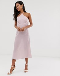 Fashion Union Midi Dress With High Halter Neck In Gingham Pink
