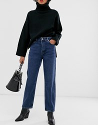 Selected Femme High Waist Straight Leg Jeans In Blue Wash