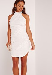 Missguided Floral Applique Lace High Neck Bodycon Dress White White