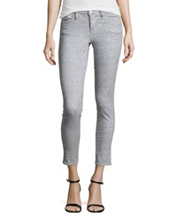 Marchesa Voyage Flocked Denim Skinny Jeans Gray