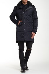 Members Only Long Faux Fur Trimmed Nordic Coat Blue