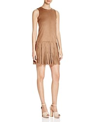 Prive Faux Suede Fringe Skirt Dress Latte