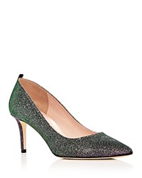 Sarah Jessica Parker Sjp By Women's Fawn Glitter Pointed Toe Pumps Silver Glow