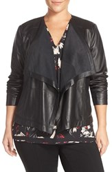 Sejour Plus Size Women's Drape Collar Leather Jacket