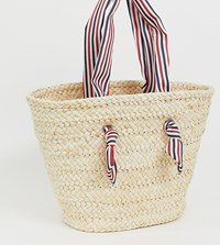 South Beach Straw Bag With Striped Handle Beige